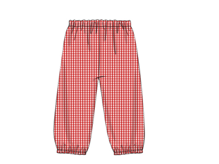 Red Gingham Elastic Pants