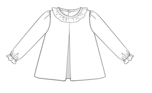 Blank: White Knit Ruffle Collar Shirt