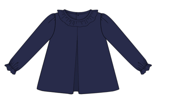 Blank: Navy Knit Ruffle Collar Shirt