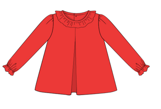 Blank: Red Knit Ruffle Collar Shirt