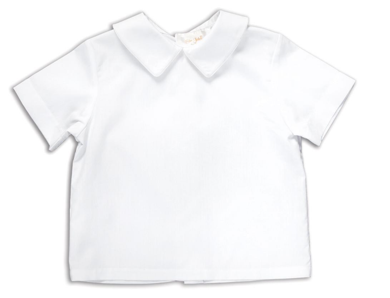 Blank: White Fabric Short Sleeve BOY Shirt with Peter Pan Collar