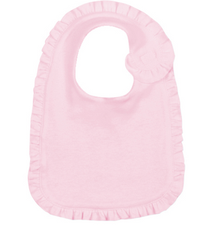 Baby: Pink Ruffle Bib with Monogram