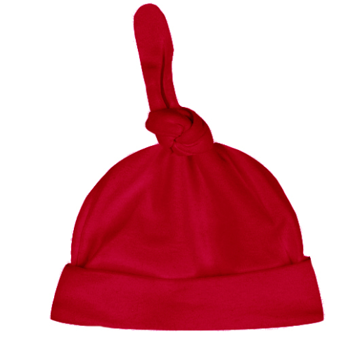 Baby: Red Knit Infant Hat with monogram