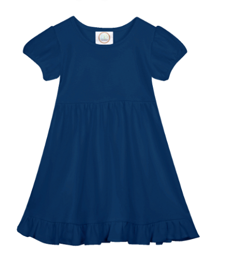 Blank: Navy Short Sleeve Empire Waist Dress