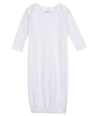 Baby: White Knit Unisex Gown with Monogram