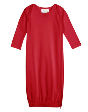 Baby: Red Knit Unisex Gown with Monogram