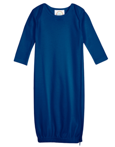 Baby: Navy Knit Unisex Gown with Monogram