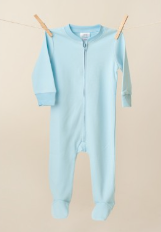 Baby: Blue Footie One Piece with Monogram