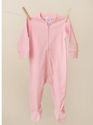 Baby: Pink Footie One Piece with Monogram