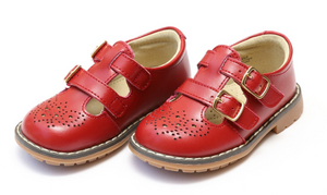 Shoes: L'Amour Double Strap Mary Janes- Red