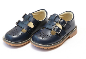 Shoes: L'Amour Double Strap Mary Janes- Navy
