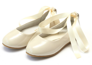 Shoes: L'Amour Lace Up Ballet Flat: Cream