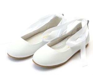 Shoes: L'Amour Lace Up Ballet Flat: White
