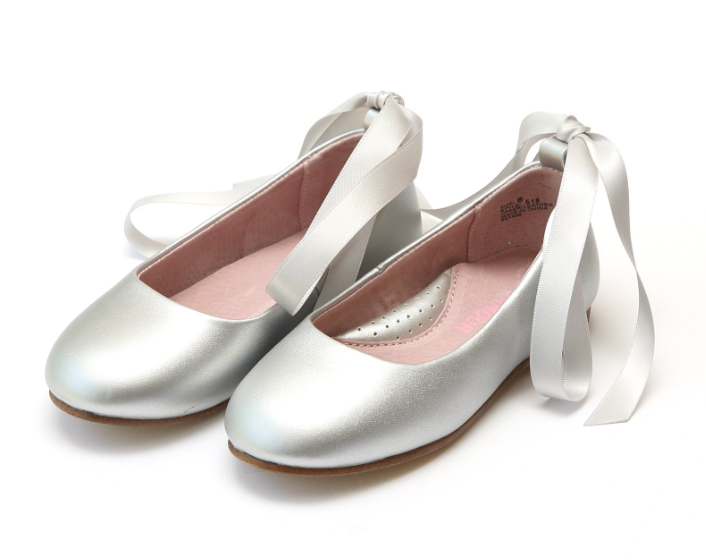 Shoes: L'Amour Lace Up Ballet Flat: Silver