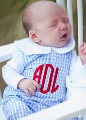 Classic Baby Blue Check Longall with Monogram