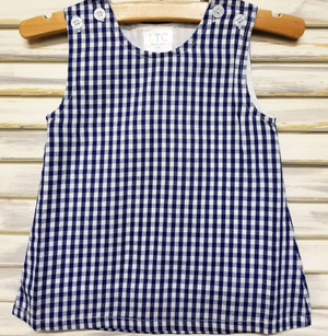Classic Navy Check A Line Dress with Monogram