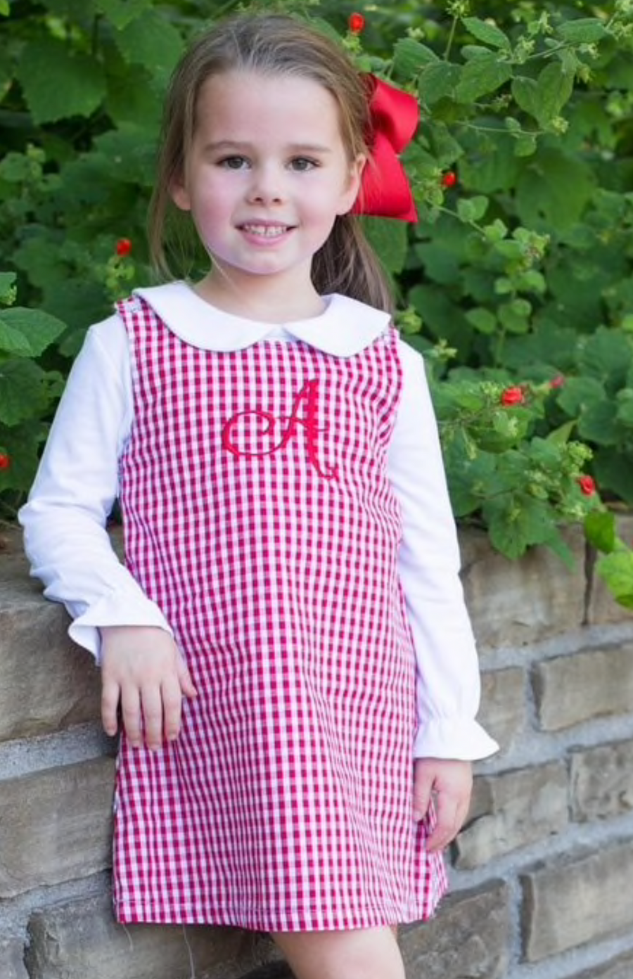 Classic Red Gingham A Line Dress with Monogram