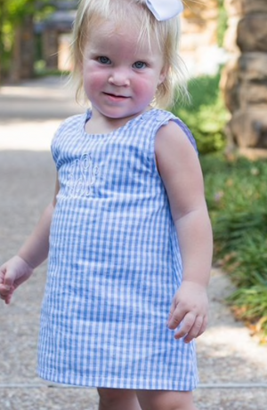 Classic Baby Blue Check A Line Dress with Monogram