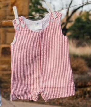 Red Seersucker Shortall