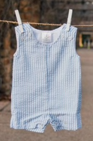 Baby Blue Seersucker Shortall