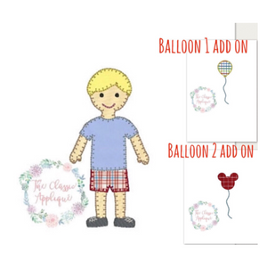 Applique Add On: Boy with Mouse Shaped Balloon Appliqué