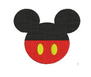 Embroidery Add On: Classic Mickey Head with Yellow Button Red Bottom