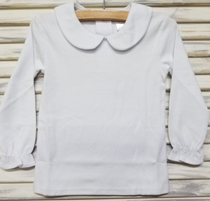 White Knit Peter Pan Collar LONG GIRL Blouse No Trim