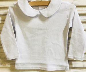 Unisex White Knit Peter Pan Collar Long Shirt