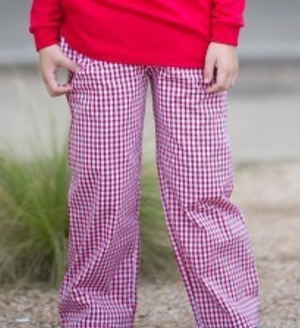 Red Gingham Straight Pants