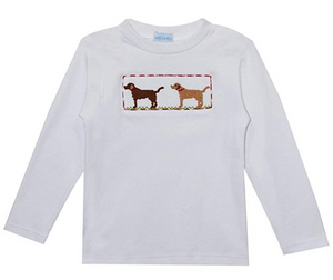 Smocked Lab Dog Long Sleeve Tee