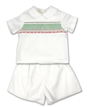 White Christmas English Smocked Short Set