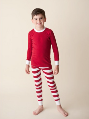 Solid Red Shirt/ Stripe Pants Unisex Pajamas