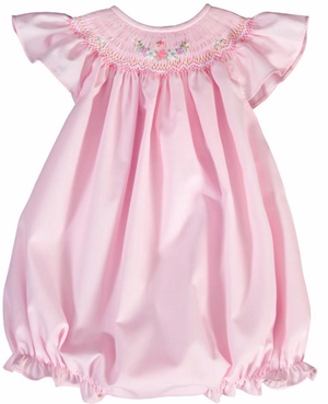 Pink Smocked Butterfly and Floral Angel Sleeve Bubble