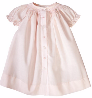 Light Pink Daygown with Smocked Roses