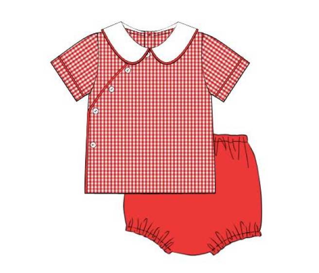 Red Check Diaper Set