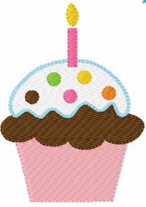 "Embroidery Add On: 2x3"" Sprinkle Cupcake Wishes"
