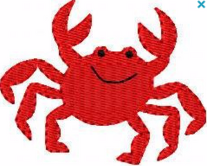 "Embroidery Add On: 3x3"" Joyful Red Crab"