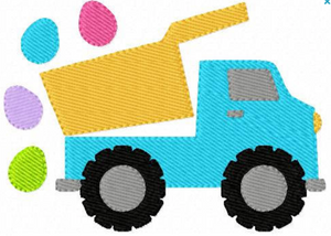 "Embroidery Add On: 4x3"" Easter egg Dump Truck"