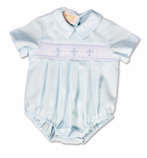 Smocked Blue Cross Boy Bubble