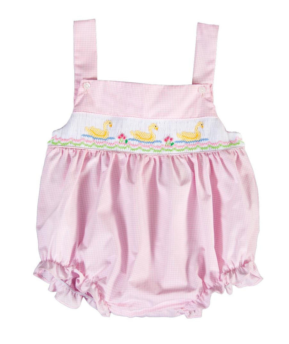 Smocked Pink Gingham Sunsuit with Yellow Ducks