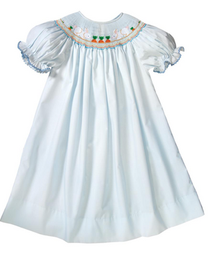 Smocked Bunnies and Carrots Blue Dress