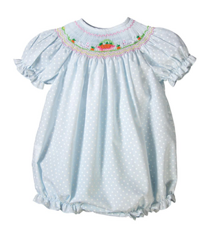 Smocked Bunnies and Carrots Blue Dot Bubble