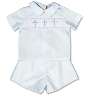 Smocked Crosses Blue Short Set