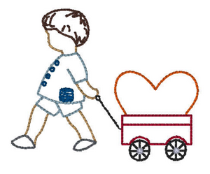 Embroidery Add On: Valentine Boy and Wagon