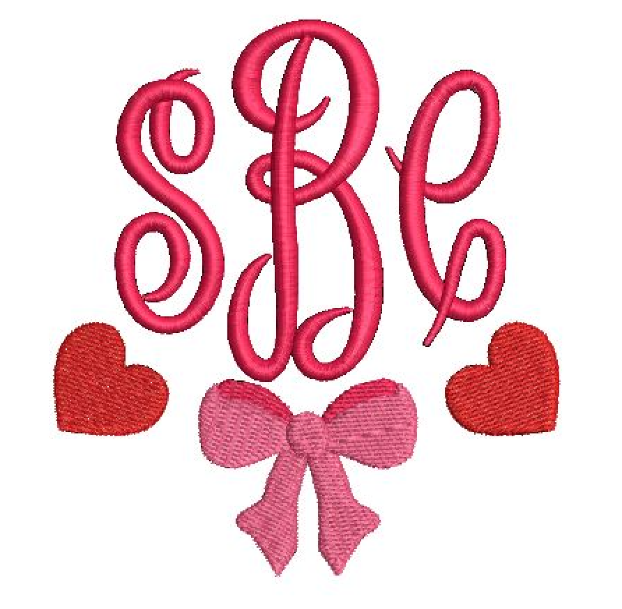 Embroidery Add On: Hearts and Bows Monogram