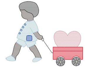 Embroidery Add On: African American Valentine Boy and Wagon Sketch