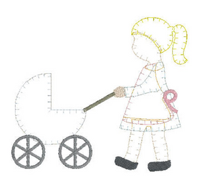 Applique Add On: Big Sister Pushing Carriage