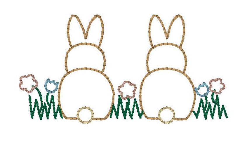 Embroidery Add On Bunnies In The Garden Outline Stitch Birmingham Bubbles