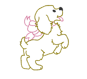 Embroidery Add on: Puppy with Big Pink Bow