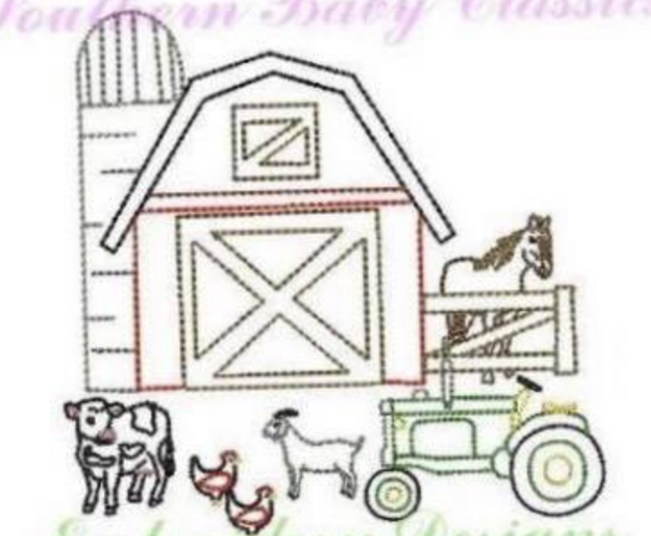 Embroidery Add On: Farm embroidery design